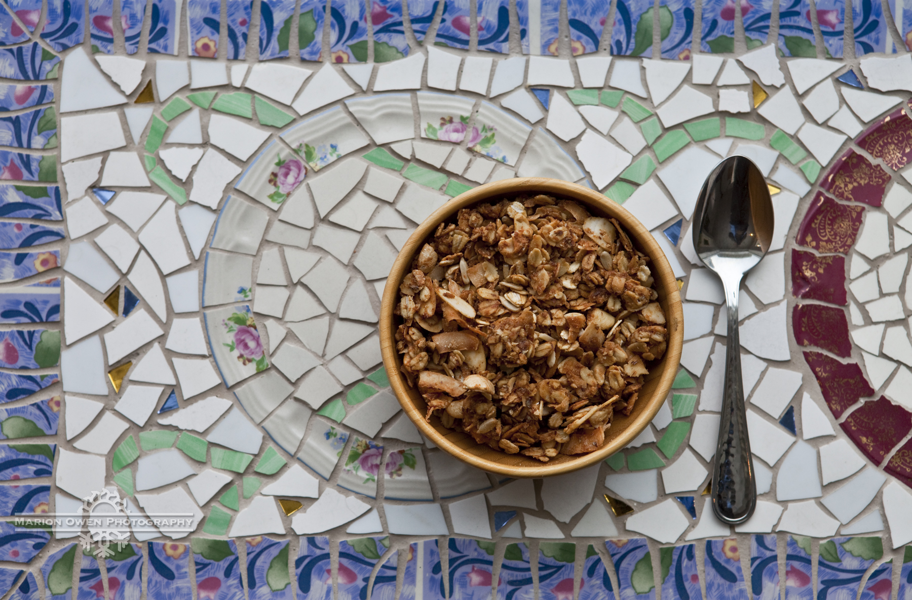 Granola, breakfast, food, healthy, fiber, nuts, mosaic, spoon, meal, morning, Kodiak, Alaska, oats, homemade, coconut, peanut butter, honey, oatmeal, cashews.