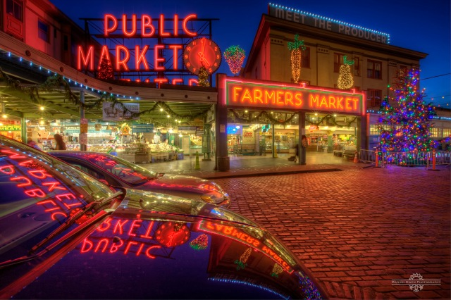 Seattle, Washington, Pike Place Market, Farmer's market, Christmas, lights, display, holiday, district, tree, shop, sign, street, brick, advertisement, entrance, vegetables, public market,