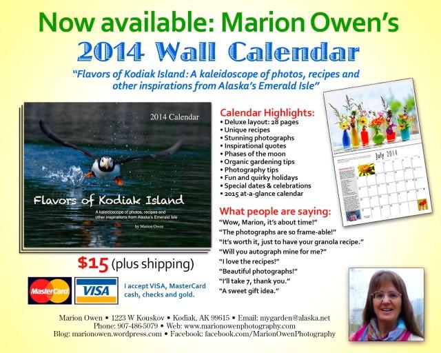2014, wildlife, calendar, Alaska, recipes, quotes
