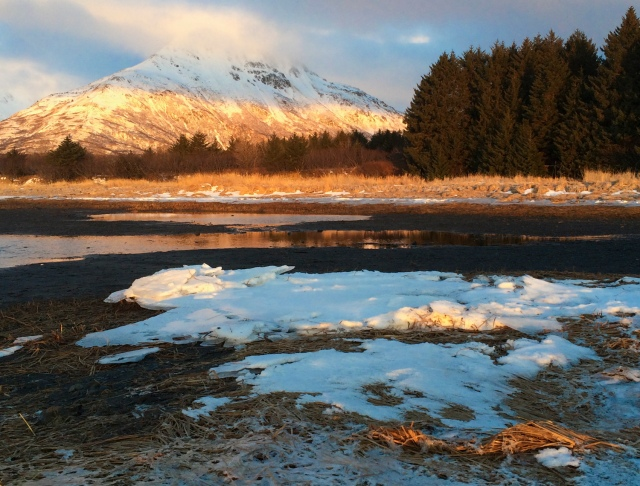 Alaska, Kodiak, photographer, photography, landscape, iPhone photo, picture, photo, camera, sunrise, ice, river, winter, mountain