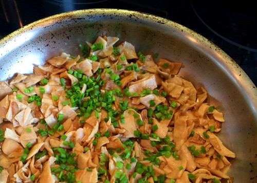 mushrooms, chives, recipe, angel wings