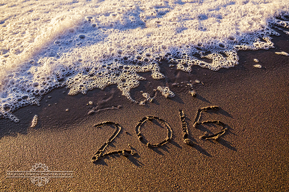 New Year, sand, writing, surf, ocean