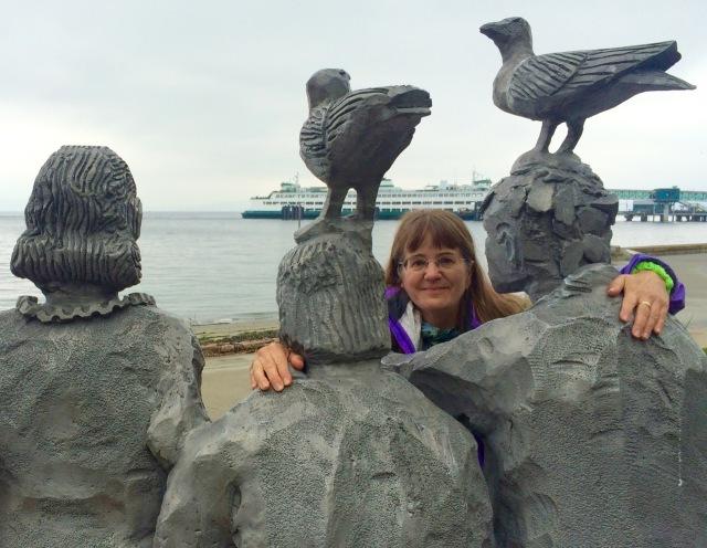 Edmonds, statue, travel, ferry, beach