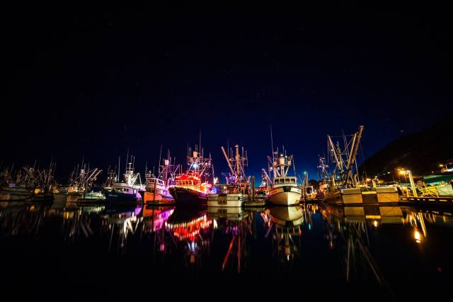 holiday, lights, boats, festival, winter, Christmas, stars, Alaska, Kodiak