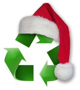 Santa, hat, sustainable, recycle, logo, recycling, Christmas